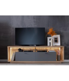 Meuble TV design bois et gris 200 cm