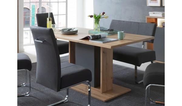 Table 160 cm originale - Bois et gris pierre