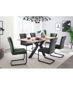Table de repas design rectangulaire bois et métal