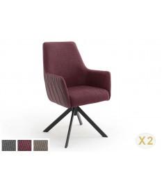 2 Chaises pivotantes 360° avec accoudoirs