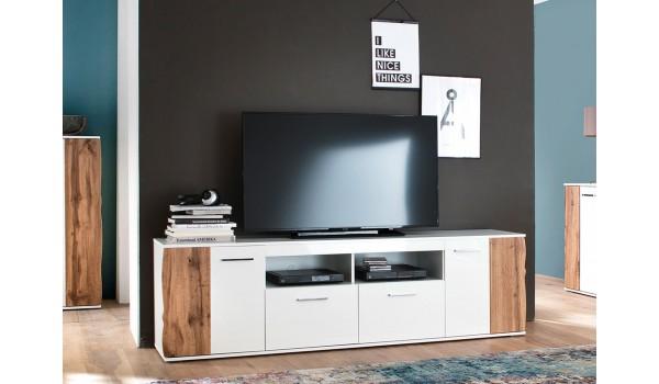 Meuble TV design bois et blanc 200 cm