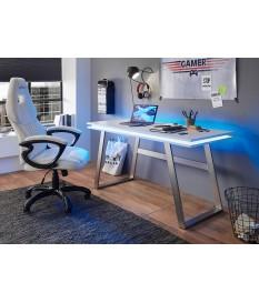 Table bureau blanc laqué mat avec éclairage LED et USB