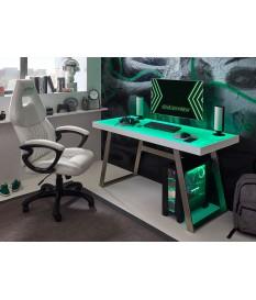 Table de travail blanche / Inox avec éclairage Led et connexion USB