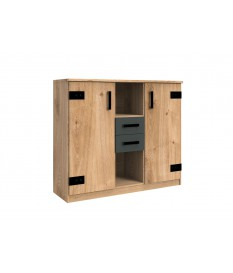 Meuble de rangement 2 portes, 2 tiroirs, 2 niches