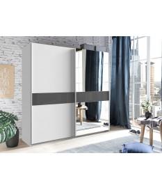 Armoire coulissante 135 ou 180 cm - Blanche / Verre gris / Miroir