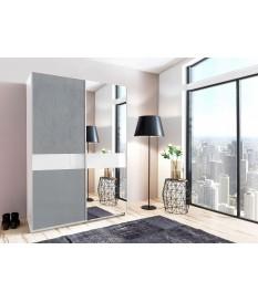 Armoire coulissante 135 ou 180 cm - Gris béton / Verre blanc / Miroir