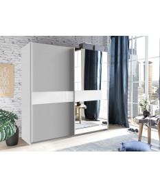 Armoire coulissante 135 ou 180 cm - Gris clair / Verre blanc / Miroir