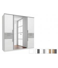Armoire 6 portes - Double miroir / Lingère / Dressing / Tiroirs