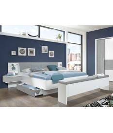 Lit double blanc et gris tête de lit et rangement intégré