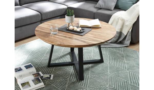 Table basse ronde bois acacia et métal noir