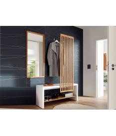 meuble d'entrée vestiaire design blanc et bois