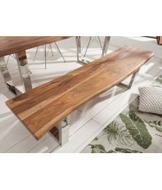Banc de salle à manger en bois et métal chromé 180 cm