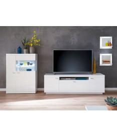 Meuble Télé / Buffet bas & étagères blanc laqué