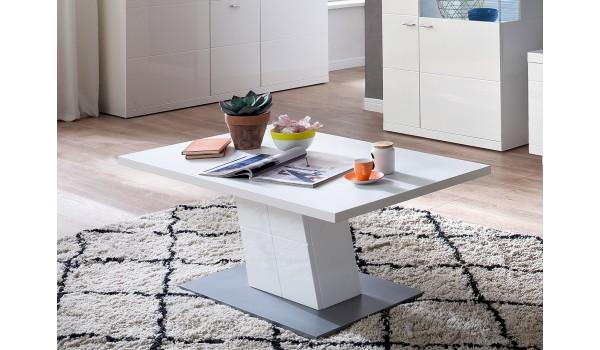 Table basse rectangulaire blanc laqué design