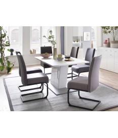 Table de salle à manger rectangulaire blanc laqué 160 cm