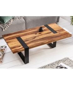 Table basse en bois de Sesham rectangulaire et métal