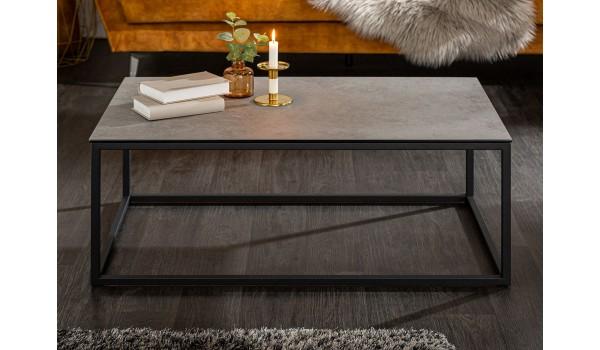 Table basse rectangulaire en céramique gris béton