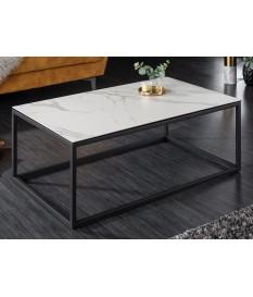 Table basse en céramique marbre blanc et gris