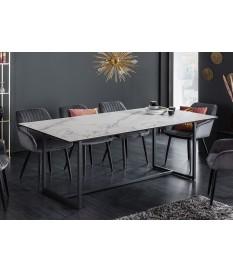 Table à manger design / Céramique et piétement métal noir