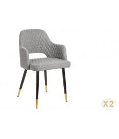 Chaise tissu gris clair avec accoudoir / Pieds noir embouts dorée
