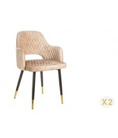 Chaise velours grège avec accoudoir / Pieds noir embouts dorée