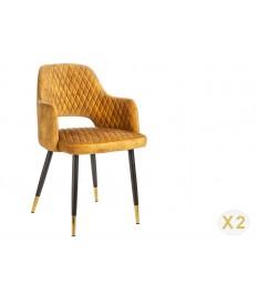 Chaises velours jaune avec accoudoir / Pieds noir embouts dorée