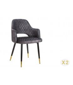 Chaises velours gris avec accoudoir / Pieds noir embouts dorés