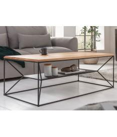 Table basse design bois et métal rectangulaire 110 cm