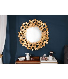 Grand miroir mural rond design doré