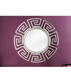 Miroir mural rond déco antique argenté 85 cm
