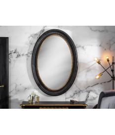 Miroir baroque ovale noir et doré