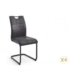 Chaises tissu noir ou grise vintage lot de 4