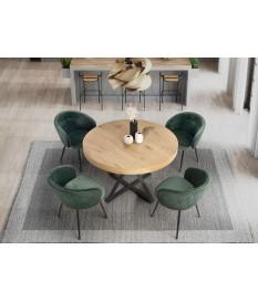 Table à manger ronde extensible en bois et piétement central en métal