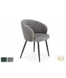 Chaises confortables enveloppantes en velours - Vert ou grise
