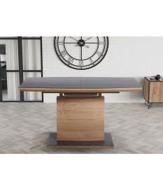 Table extensible en bois plaqué chêne doré - Verre gris