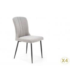 4 Chaises en tissu gris pas cher