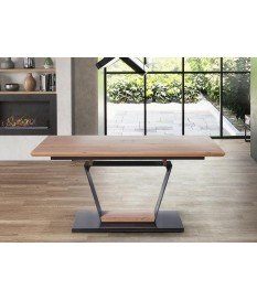 Table design rectangulaire avec allonge plaqué chêne doré et noir