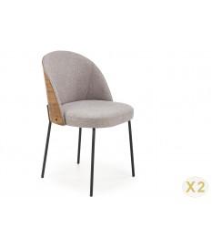 2 Chaises design en tissu dossier en Noyer