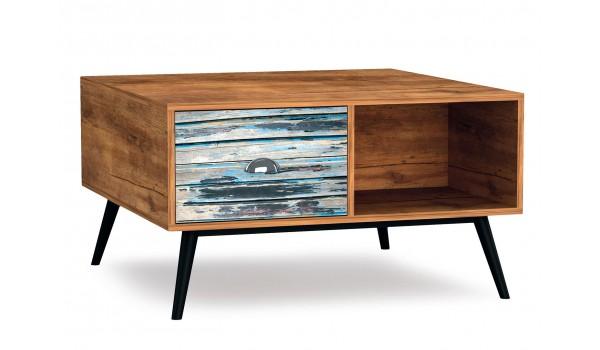 Table basse en bois vintage rectangulaire