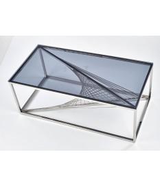 Table basse verre fumé et métal chromé stylé