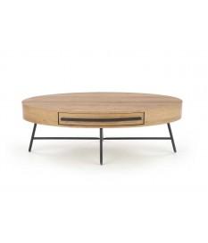 Table basse ovale en bois plaqué chêne doré