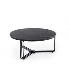 Table basse ronde décor marbre noir