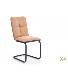 4 Chaises simili cuir marron clair et anthracite