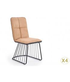 4 Chaises design simili cuir marron clair et anthracite