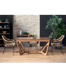 Table à manger design en bois de noyer extensible