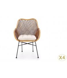 Chaise en rotin avec cousin en tissu beige