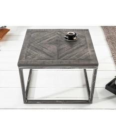 Table basse métal et bois grisé / Carrée