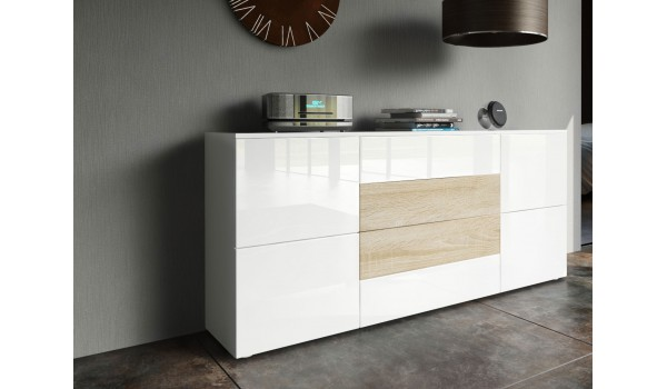 buffet design blanc laqu 4 portes 4tiroirs novomeuble. Black Bedroom Furniture Sets. Home Design Ideas