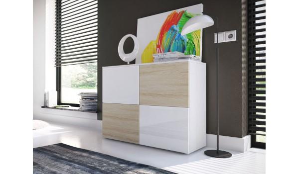 Commode de Salon Moderne 4 Portes Laqué ou Structuré