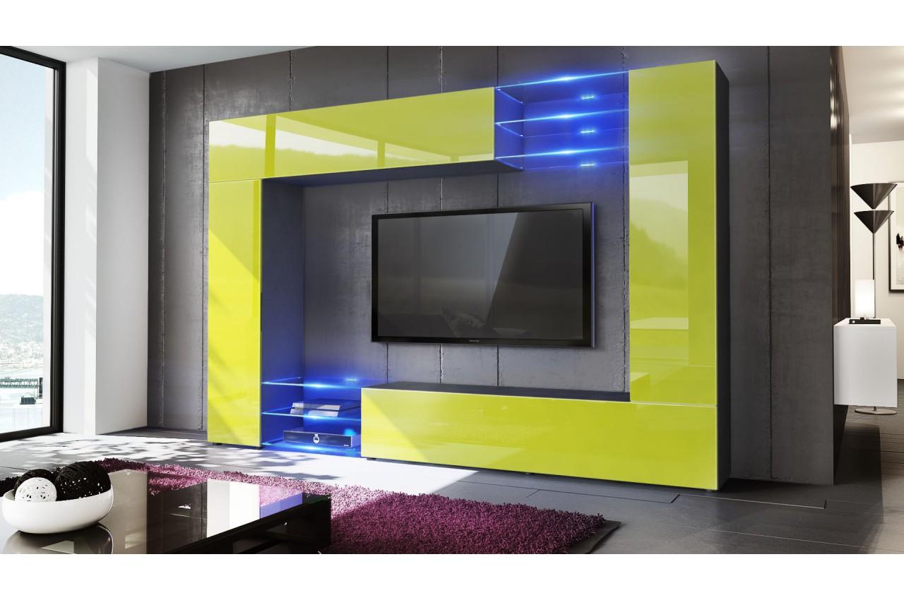 Meuble tv mural design 12 finitions moderne au choix for Meuble mural moderne